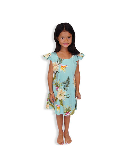 Girls Flower Rayon Dress Island Ceres 100% Rayon Fabric Round Neckline and Ruffled Sleeves A-Line Shape and Back Zipper Adjustable Ties Color: Green Sizes: 2 - 14 Made in Hawaii - USA