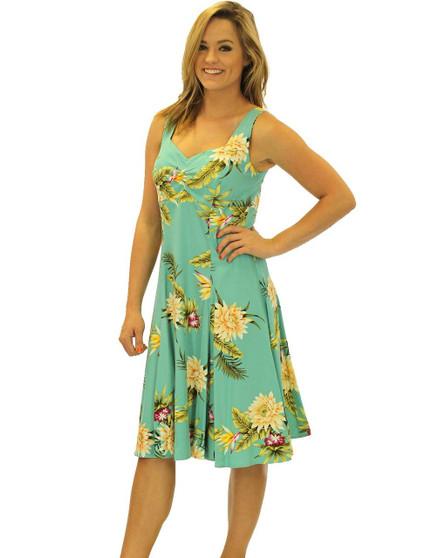 Tropical Short Sundress Rayon Island Ceres 100% Soft Rayon Fabric Semi Tank Straps Sweetheart Neckline A-Line Hem Back Zipper Color: Green Sizes: XS - 2XL Sweetheart Neckline Made in Hawaii - USA