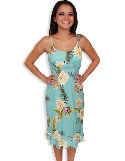 Midi Summer Spaghetti Hawaiian Dress Island Ceres 100% Rayon Fabric Color: Green Sizes: XS - 2XL Empire Waist Small Ruffled Tier at Hem Made in Hawaii - USA