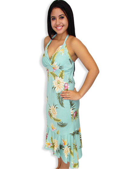 Mid Length Halter Hawaiian Dress Island Ceres 100% Rayon Fabric Color: Green Sizes: XS - 2XL Crossover V Neckline Ruffled Tier at Hem Made in Hawaii - USA