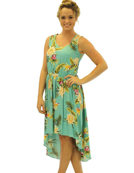 Tropical High Low Rayon Midi Dress Island Ceres High Low Asymmetrical Hem 100% Rayon Fabric Thin Elastic Waistband Sleeveless Tank Design Easy Pull Over Style Color: Green Sizes: XS - XL Made in Hawaii - USA Matching Items Available
