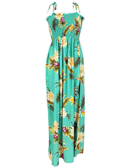Long Smocked Top Hawaiian Dress Island Ceres 100% Rayon Soft Fabric Wear with Straps or Strapless Color: Green Length: 47-48 Inches From Bust-line Size: One-Size Fits Most S-XL Made in Hawaii - USA