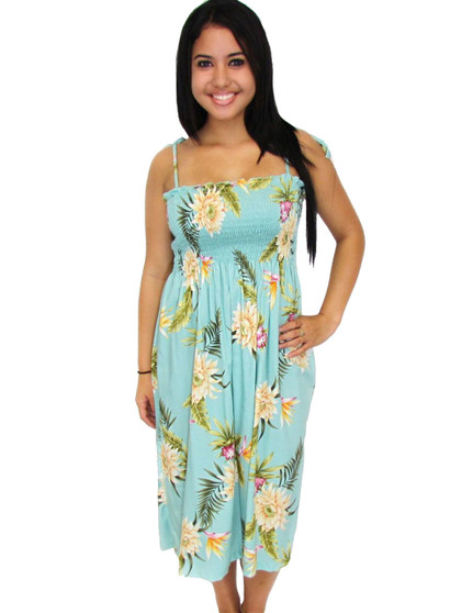 "Midi Rayon Hawaiian Smocked Dress Island Ceres 100% Rayon Fabric Color: Green Length: 33"" (mid size) Size: One Size fits most Made in Hawaii - USA"
