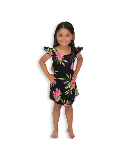Okalani Rayon Island Dress for Girls 100% Rayon Fabric Round Neckline and Ruffled Sleeves A-Line Shape and Back Zipper Adjustable Ties Color: Black  Sizes: 2 - 14 Made in Hawaii - USA