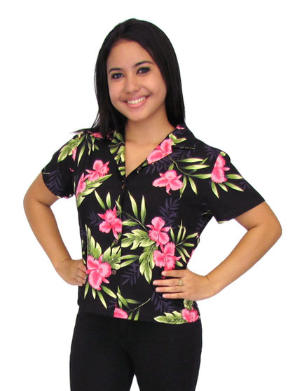 Okalani Black Aloha Women Blouse 100% Rayon Soft Fabric Coconut shell buttons Color: Black Sizes: S - 4XL Made in Hawaii - USA