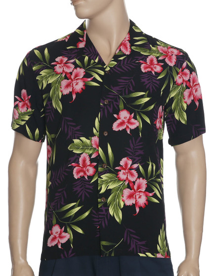 Men Rayon Hawaii Aloha Shirt Okalani Black 100% Rayon Fabric - Soft and Classy Open Collar - Relaxed Modern Fit Coconut shell buttons - Matching left pocket Color: Black Sizes: S - 3XL Made in Hawaii - USA