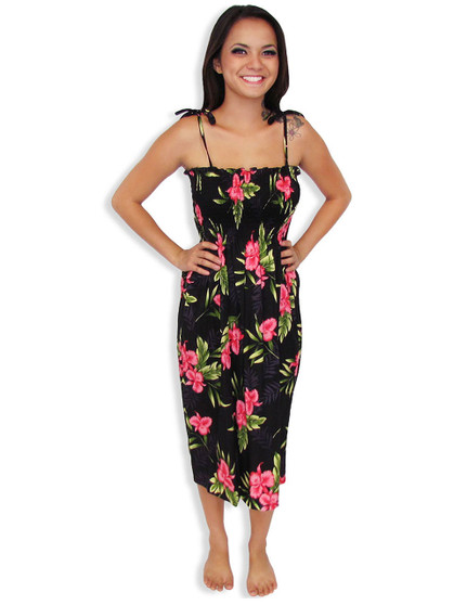 """Okalani Mid-length Tube Top Rayon Dresses 100% Rayon Color: Black Length: 33"""" (mid size) Size: One Size fits most Made in Hawaii - USA Matching Items Available"""
