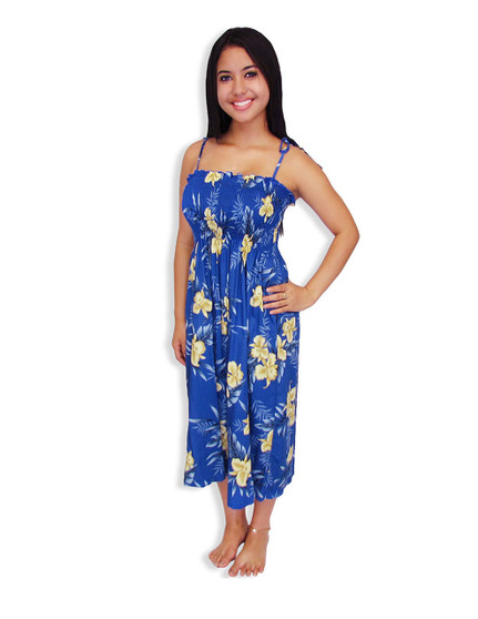 Okalani Smock Rayon Hawaiian Dress 100% Rayon Fabric Smocked Tube Top Design Tie On Shoulder or Halter Style Wear Strapless Option  Color: Blue Length: 33 Inches Long Size: One Size Dress Made in Hawaii - USA