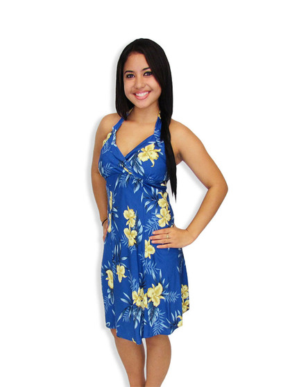 Short Halter Hawaiian Okalani Fashion Dress Short Style Aloha Dress 100% Rayon Fabric Adjustable Halter Ties Open Mid-Back Elastic Pull-Over Style Colors: Blue Sizes: XS - 2XL Made in Hawaii - USA