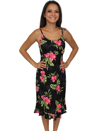 Black Okalani Spaghetti Straps Resort Dress 100% Rayon Color: Black Sizes: XS - 2XL Empire Waist Small Ruffled Tier at Hem Made in Hawaii - USA Matching Items Available