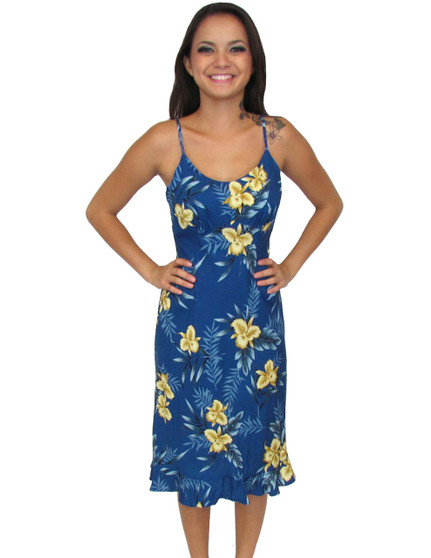 Rayon Midi Slip Spaghetti Straps Dress Okalani Blue 100% Rayon Fabric Spaghetti Thin Shoulder Straps Round Neckline and Easy Pull-Over Bias Fit Empire Waist and Ruffled Hemline Color: Blue Sizes: XS - 2XL Made in Hawaii - USA