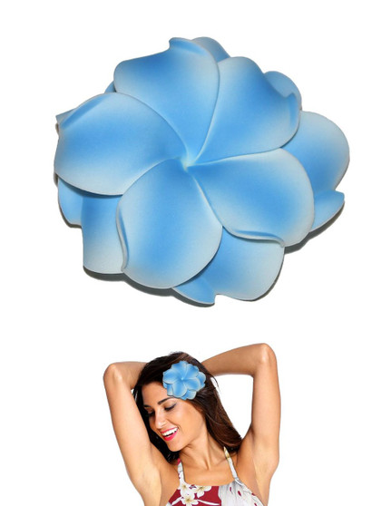"""Extra Large Flower Hair Clip Double Plumeria Blue Tropical Flower Hair Clip Design Bendable Foam - Double Flower Alligator Clip for Secure Hold Color: Blue Size: XLarge 4"""" X 4"""" Made in Hawaii - USA"""