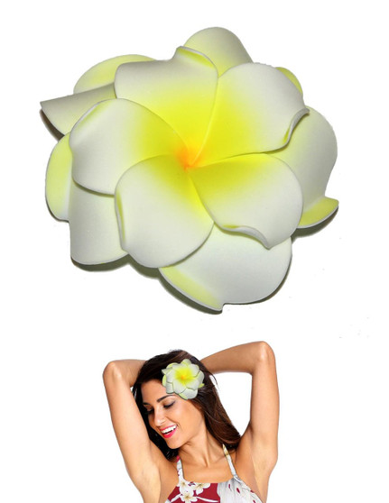 Extra Large Double Plumeria Flower Hair Clip Natural