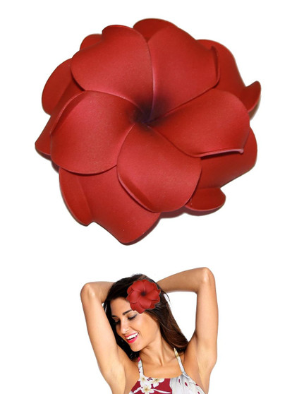 """Extra Large Flower Hair Clip Double Plumeria Red Tropical Flower Hair Clip Design Bendable Foam - Double Flower Alligator Clip for Secure Hold Color: Red Size: XLarge 4"""" X 4"""" Made in Hawaii - USA"""