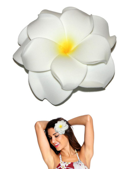 """Extra Large Flower Hair Clip Double Plumeria White Tropical Flower Hair Clip Design Bendable Foam - Double Flower Alligator Clip for Secure Hold Color: White Size: XLarge 4"""" X 4"""" Made in Hawaii - USA"""
