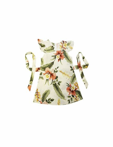 Orchid Pu'a Girls Hawaiian Sundress 100% Rayon Fabric Round Neckline and Ruffled Sleeves A-Line Shape and Back Zipper Adjustable Ties Color: Beige Sizes: 2 - 14 Made in Hawaii - USA
