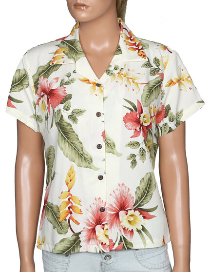 Orchid Pua Women Aloha Shirt 100% Rayon Coconut shell buttons Color: Beige Sizes: S - 4XL  Made in Hawaii - USA