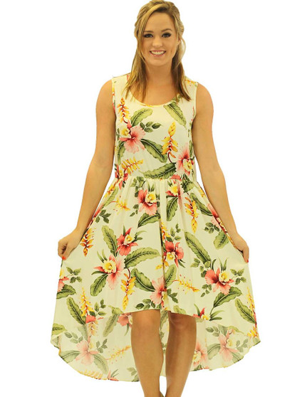 Orchid Pu'a Mid Length Tropical High Low Dress High Low Asymmetrical Hem 100% Rayon Fabric Thin Elastic Waistband Sleeveless Tank Design Easy Pull Over Style Color: Beige Sizes: XS - 2XL Made in Hawaii - USA