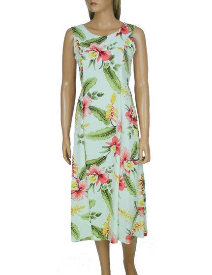 Orchid Pu'a Knee Length Rayon Dress 100% Rayon Fabric Comfort Tank Straps Back Zipper Waist Adjustable Back Laces Color: Beige Sizes: XS - XL Made in Hawaii - USA