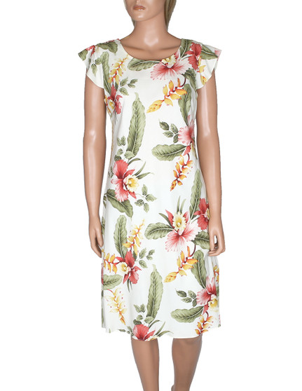 Knee Length Hawaiian Dress Orchid Pua Sleeved 100% Rayon Fabric Round Neckline - Butterfly Sleeves Easy Pull-Over Style w/ Coconut Button Fastener Front and Back Darts Colors: Beige Sizes: S - 2XL Made in Hawaii - USA