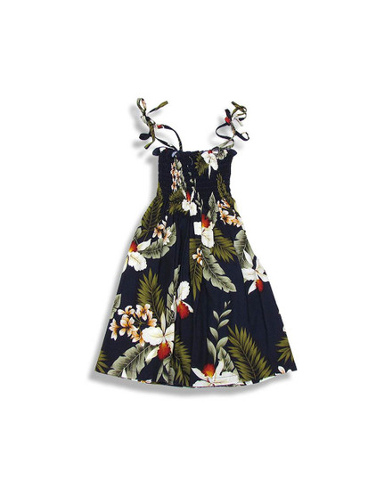 Girl's Tube Top Hanapepe Dress with Orchids Smock Top with Straps 100% Rayon Soft Fabric Colors: Navy, White Size: S, M, L Should Fit Ages 3-12 Made in Hawaii - USA