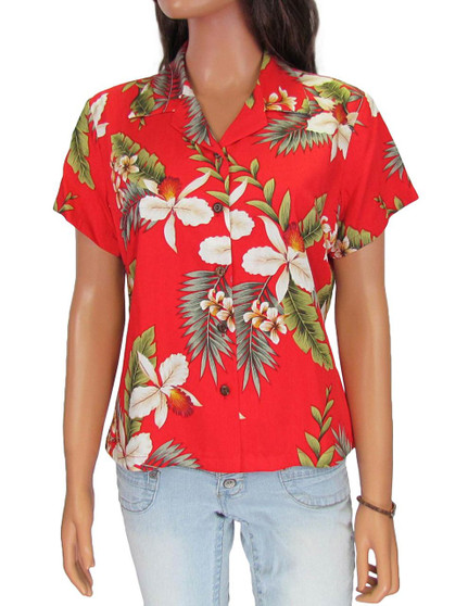 Hanapepe - Beach Blouse 100% Rayon Coconut shell buttons Colors: Red Sizes: S - 4XL Made in Hawaii - USA Matching Items Available