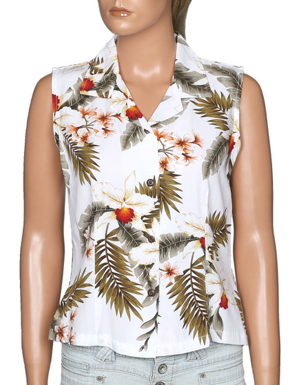 Sleeveless Aloha White Blouse Orchids Hanapepe 100% Rayon Soft Fabric Slimming Front and Back Darts Sleeveless and Comfort Fit Design Coconut Shell Buttons Colors: White Sizes: S - 2XL Made in Hawaii - USA