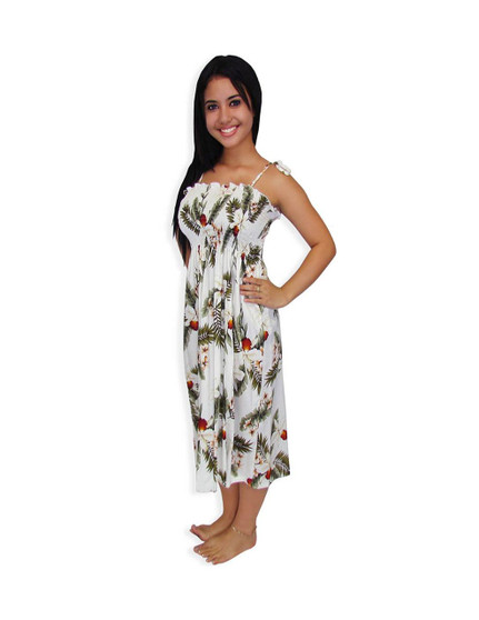 """Tropical Smocked Mid-Length Hanapepe Dress 100% Rayon Fabric Color: White Length: 33"""" (mid size) Size: One Size fits most Made in Hawaii - USA"""