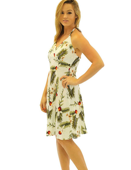 Hanapepe Halter Neck Empire Summer Rayon Dress Short Sexy Fit 100% Rayon Fabric Adjustable Halter Ties Open Mid-Back Elastic Pull-Over Style Color: White Sizes: XS - 2XL Made in Hawaii - USA Matching Items Available