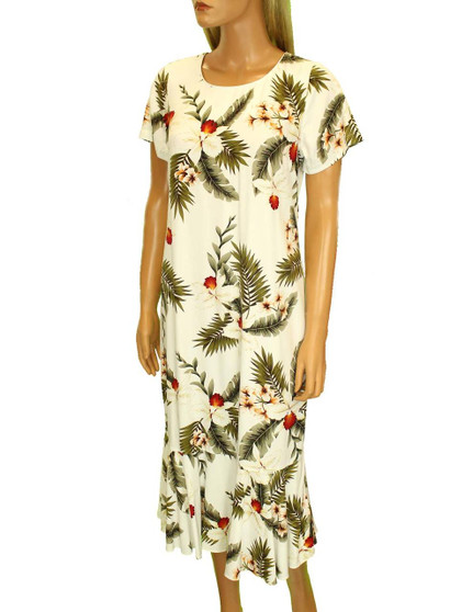 Midi Aloha Dress with Sleeves Hanapepe Design 100% Rayon Fabric Comfort Round Neckline Piping Wrapped Short Sleeves Hidden Back Zipper Ruffled Hemline & Bias Cut Relaxed Fit Design Color: White Sizes: XS - 2XL Made in Hawaii - USA