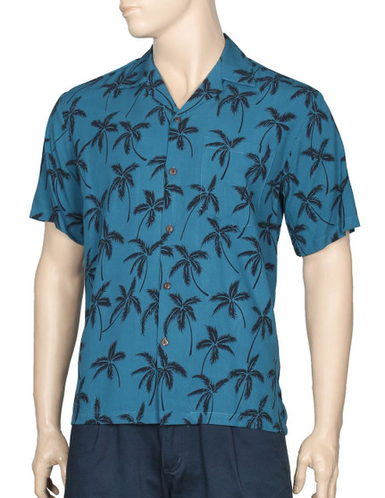 Aloha Palms White Rayon Shirt for Men 100% Rayon Fabric - Soft and Classy Open Collar - Relaxed Modern Fit Coconut shell buttons - Matching left pocket Colors: Blue Zircon Sizes: S - 4XL Made in Hawaii - USA