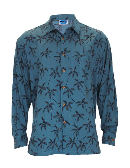 Teal Blue Rayon Long Sleeves Tropical Palms Aloha Shirt - Hawaiian Gala Design 100% Quality Rayon Poplin Button-Up Collared Design Genuine Coconut Buttons Left Pocket Matching Fabric Color: Blue Care: Hand wash cold. Do not bleach. Line dry Made in Hawaii - USA