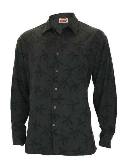 Black Rayon Long Sleeves Tropical Palms Aloha Shirt - Hawaiian Gala Design