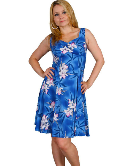 Blue Hawaii Orchids Rayon Sundress Tank 100% Rayon Color: Blue Sizes: XS - 2XL Sweetheart Neckline Made in Hawaii - USA