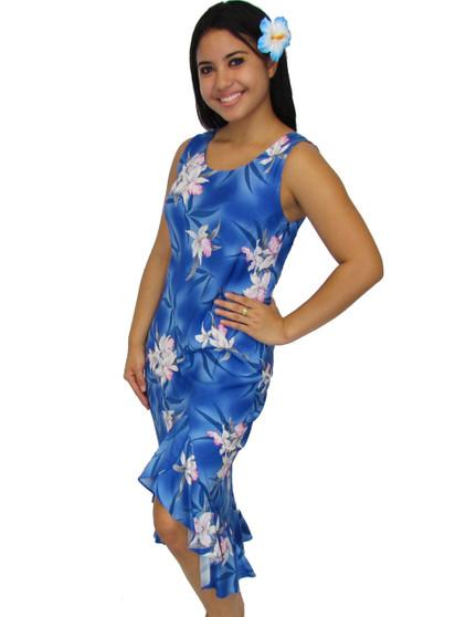 Blue Hawaii Orchids Tank Mid Length Rayon Dress 100% Rayon Fabric Midi Style Dress Side Seamless Zipper Asymmetrical Hem with Ruffle Color: Blue Sizes: XS - 3XL Made in Hawaii - USA