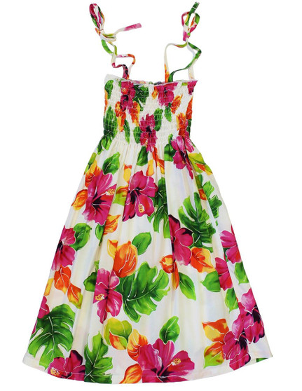 "Girl Tube Top Aloha Dress Water Hibiscus 100% Rayon Fabric Color: White One Size fits All (3 to 12 years old) Length: 21"", 24"", 28"" From the bust Made in Hawaii - USA"