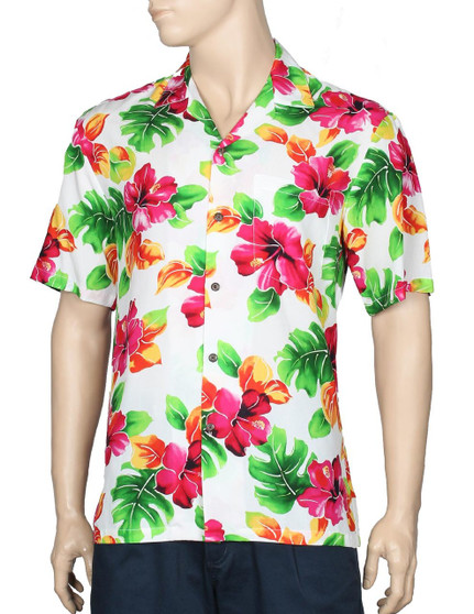 Water Hibiscus Rayon Aloha Shirt 100% Rayon Fabric - Soft and Classy Open Collar - Relaxed Modern Fit Coconut shell buttons - Matching left pocket Color: White Sizes: S - 3XL Made in Hawaii - USA