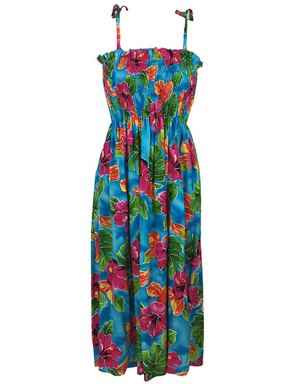 Smock Dress Hawaiian Tube Top Hibiscus Watercolor 100% Rayon Fabric Color: Blue Length: 33 Inches Size: One Size fits most XS-XL Made in Hawaii - USA