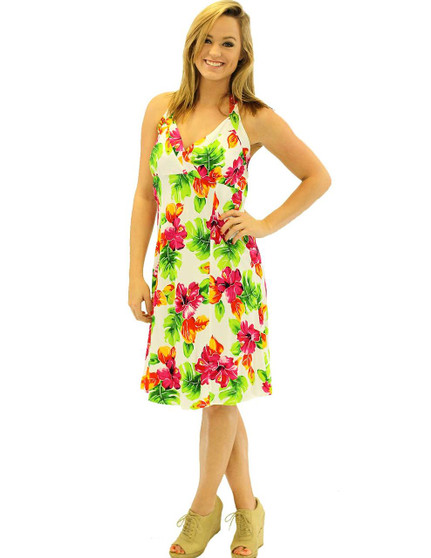 Water Hibiscus Halter Neck Empire Short Rayon Dress Short Style - Sexy Fit 100% Rayon Fabric Adjustable Halter Ties Open Mid-Back Elastic Pull-Over Style Color: White Sizes: XS - 2XL Made in Hawaii - USA