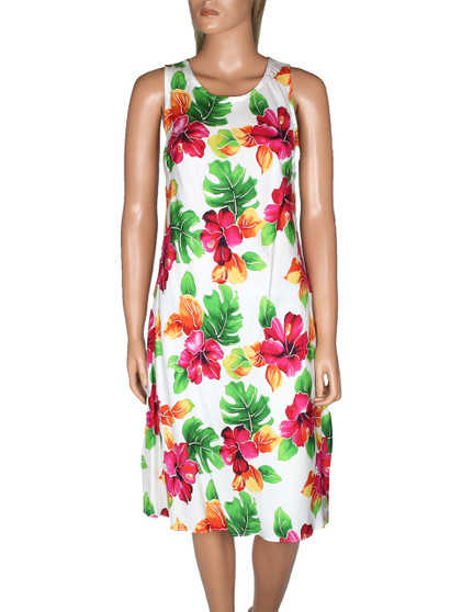 Knee Length Hawaiian Dress Water Hibiscus 100% Rayon Fabric Round Neckline - Sleeveless Easy Pull-Over Style w/ Coconut Button Fastener Front and Back Darts Color: White Sizes: S - 2XL Made in Hawaii - USA