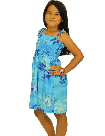 "Girl Rayon Smocked Dress Moonlight Scenic 100% Rayon Fabric Color: Blue One Size fits All (3 to 12 years old). Length: 21"", 24"", 28"" From Bust Line Made in Hawaii - USA"