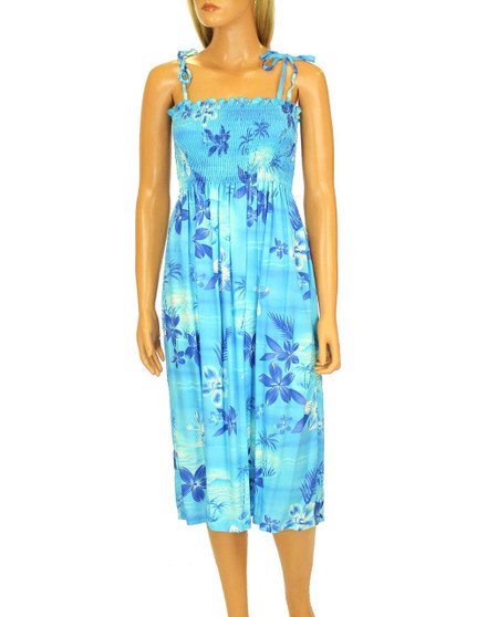 "Knee Mid Length Smocked Dress Elastic Top Design Moonlight Scenic 100% Rayon Fabric Color: Blue Length: 33"" (mid size) Size: One Size fits most Made in Hawaii - USA"