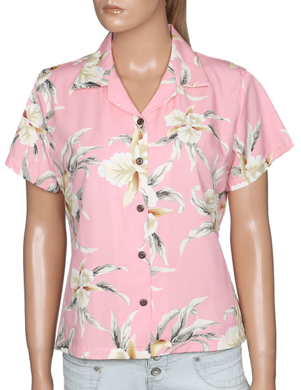 Blouse for Women - Malana 100% Rayon Coconut shell buttons Color: Pink Sizes: S - 2XL Made in Hawaii - USA Matching Items Available