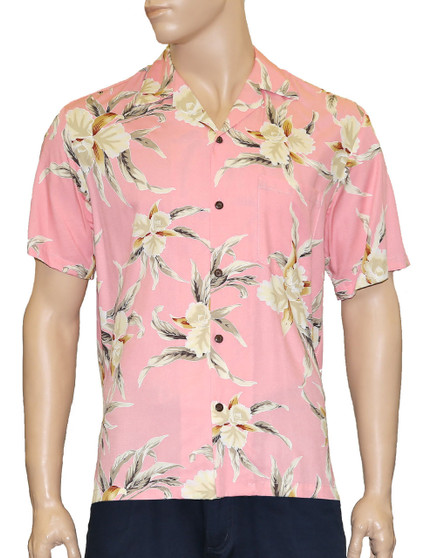 Rayon Aloha Shirt Malana Design 100% Rayon Fabric - Soft and Classy Open Collar - Relaxed Modern Fit Coconut shell buttons - Matching left pocket Color: Pink Sizes: S - 3XL Made in Hawaii - USA