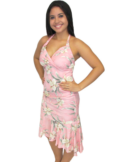 Malana Pink Mid Length Rayon Halter Dress 100% Rayon Color: Pink Sizes: XS - 2XL Crossover V Neckline Ruffled Tier at Hem Made in Hawaii - USA