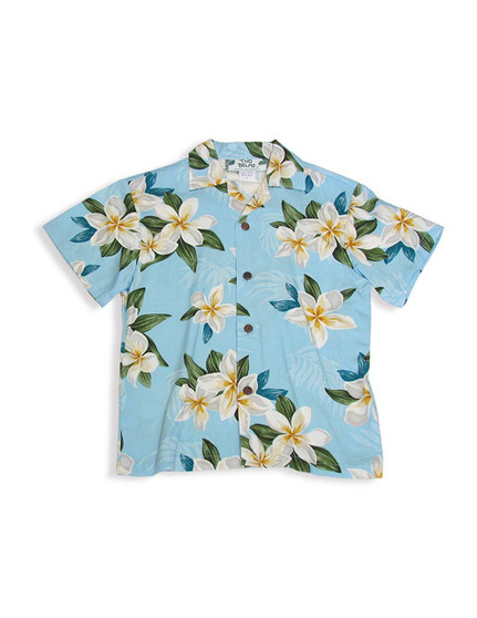 Rayon Resort Shirt for Boys - Plumeria Sky 100% Rayon  Color: Blue Sizes: 1 - 14 Made in Hawaii - USA Matching Items Available