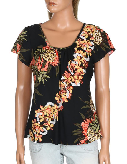 Flutter Sleeve Blouse Pineapple Panel 100% Rayon - Soft and Classy Scoop Neck & Relaxed Modern Fit Flutter Sleeves Hilo Hattie Exclusive Design Color: Black Sizes: S - 4XL Made in Hawaii - USA