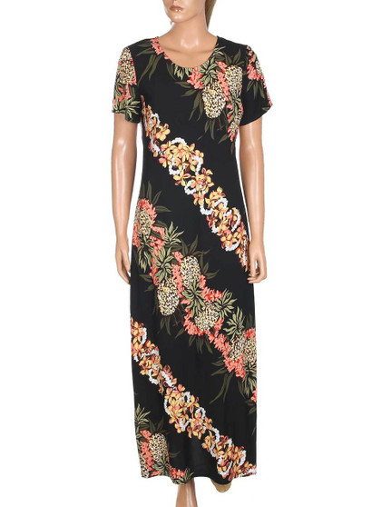Pineapple Panel Long Maxi Dress with Sleeves 100% Rayon Soft Fabric Long Maxi Style Dress w/ Sleeves Scoop Neck Design Comfortable Style Hilo Hattie Exclusive Design Color: Black Sizes: XS - XL Made in Hawaii - USA