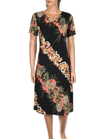 Pineapple Panel Short Rayon Dress with Sleeves 100% Soft Rayon Fabric Short Sleeves Dress Design Scoop Neck Style Dress Hilo Hattie Exclusive Design Color: Black Sizes: XS - XL Made in Hawaii - USA