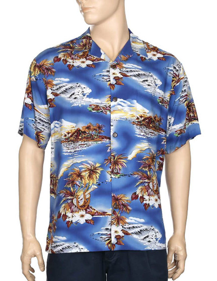Blue Hawaii Aloha Rayon Shirt 100% Rayon Fabric - Soft and Classy Open Collar - Relaxed Modern Fit Coconut shell buttons - Matching left pocket Color: Blue Sizes: S - 3XL Made in Hawaii - USA